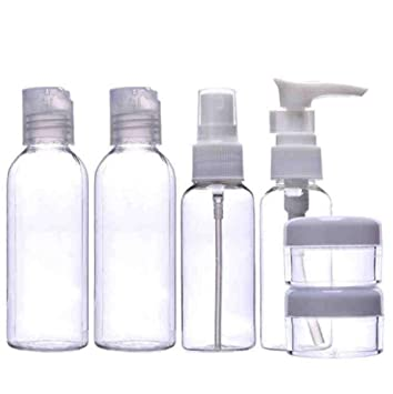e942a619aa68 Travel Bottles,Cheap4uk Plastic Air/Flight Travel Containers Set for  Cosmetic Toiletries Makeup with Zip Pouch(6 Pcs,Clear)