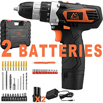 Drill, 12V Cordless Drill Driver 2x1.5Ah Batteries, Fast Charger 1.3A, 44Pcs Accessories, 18+1 Torque Setting, 2-Variable Speed Max Torque 200 In-lbs, 3/8