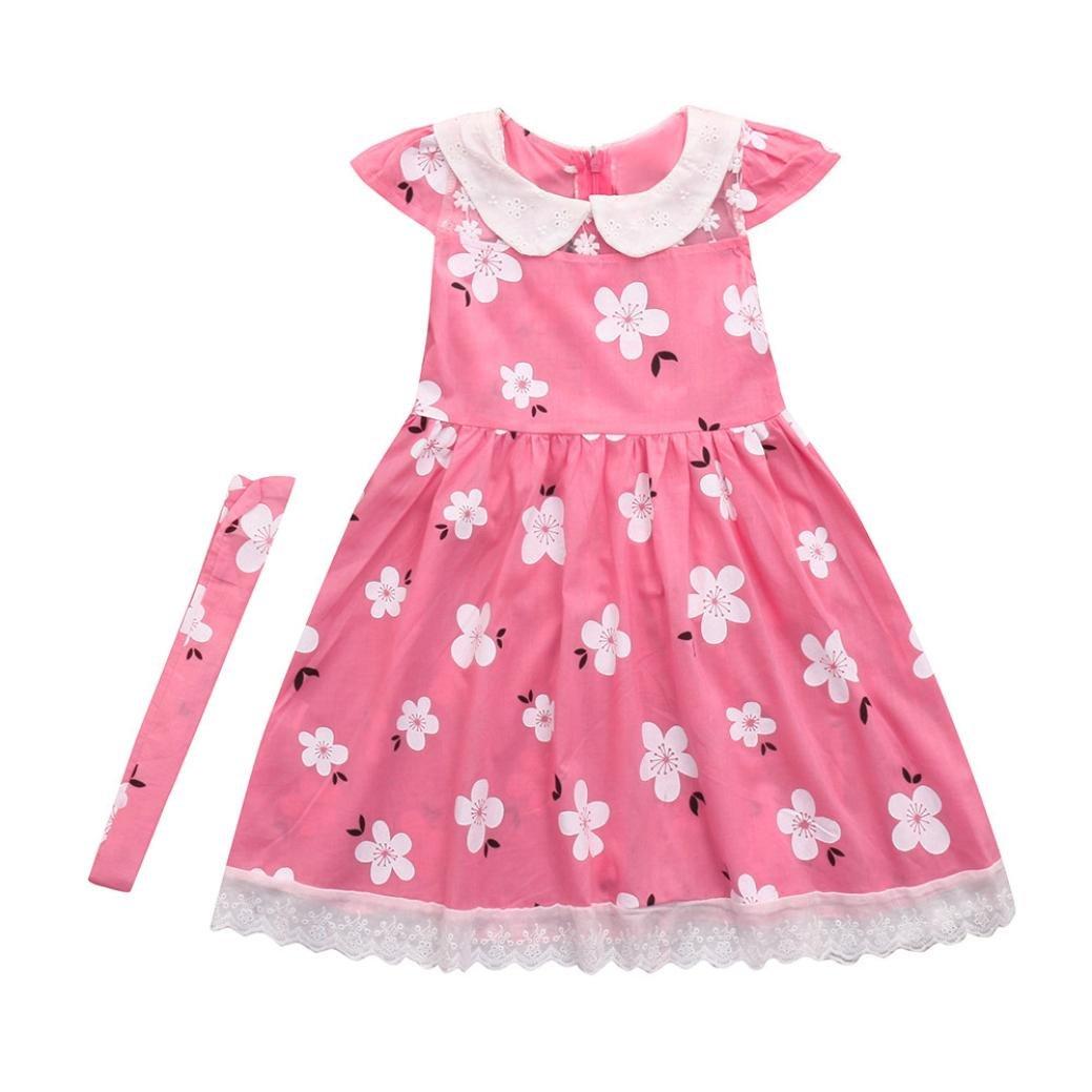 Veepola Kids Baby Girls Floral Printed Ruffle Sleeve Dresses Casual Dress (4T)