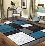 Contemporary Modern Boxes Area Rug 5' 3' X 7' 3' Blue/Gray