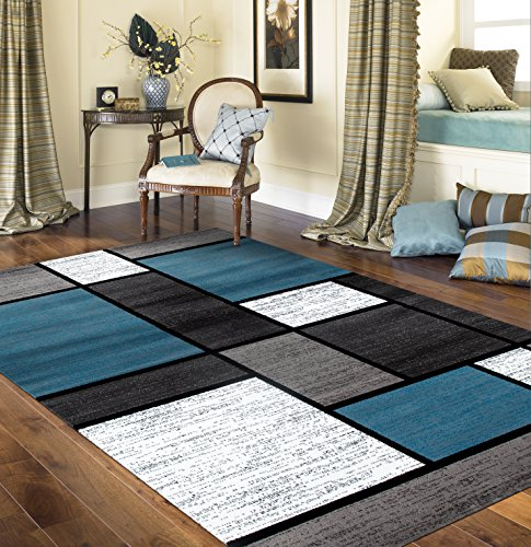 Contemporary Modern Boxes Area Rug 5' 3'' X 7' 3'' Blue/Gray by Rugshop