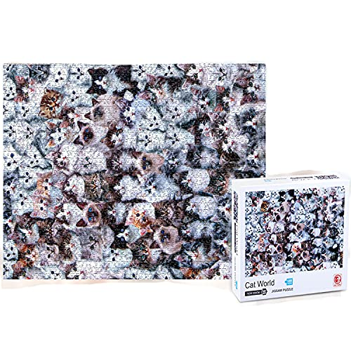 Housmile Cute Cat World 1000 Pieces Jigsaw Puzzles - Hard Mode - Puzzle for Adults, Child