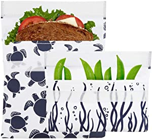 Lunchskins Reusable 2 Piece Food Storage Bag Set, 1 Sandwich Bag + 1 Snack Bag, Navy Sea Turtle