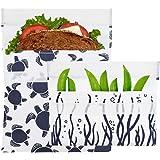 Lunchskins Reusable 2 Piece Food Storage Bag Set, 1 Sandwich Bag + 1 Snack Bag, Navy Sea Turtle