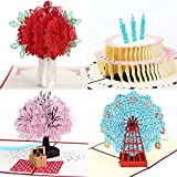 3D Popup Greeting Cards 4 Pack Assortment By Aloha Cards | For Birthdays, Thank Yous, All Occasions + Wow Your Loved Ones + Individually Packaged with Envelope and Protective Bag