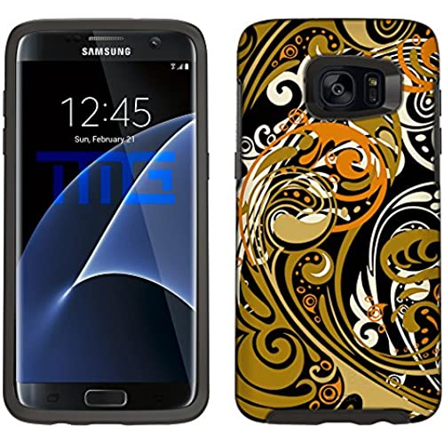 Skin Decal for Otterbox Symmetry Samsung Galaxy S7 Edge Case - Abstract Swirled Sades of Orange on Black Sales