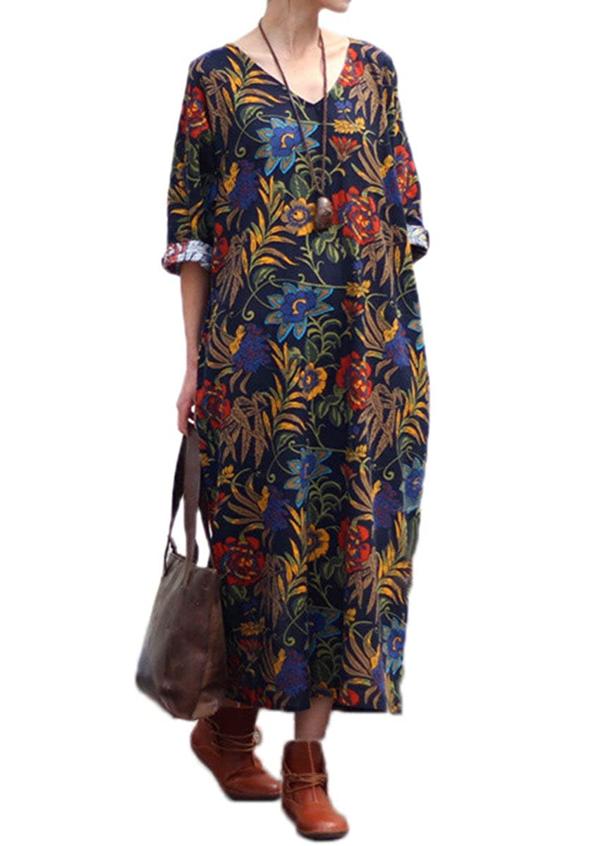 3a2d88062b3b0 Celmia Womens Retro Plus Size Short Sleeve Baggy Casual Floral Printed Maxi  Long Dress with Pockets