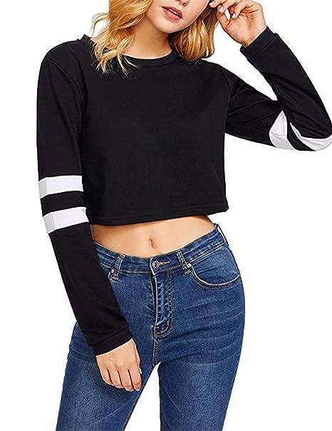 5f3e001de06b Women s Crop Top - Striped Long Sleeve Crewneck Sweatshirt at Amazon ...