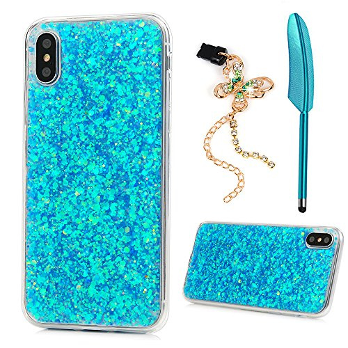 iPhone Xs 5.8 / iPhone X case, Shiny Bling Sparkle Glitter Design Crystal Clear Transparent Soft Flexible TPU Bumper Shockproof Full Protective Cover for iPhone Xs 5.8 /iPhone X - Blue