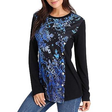 Xmiral Camiseta Estampado Floral Original con Botones para ...