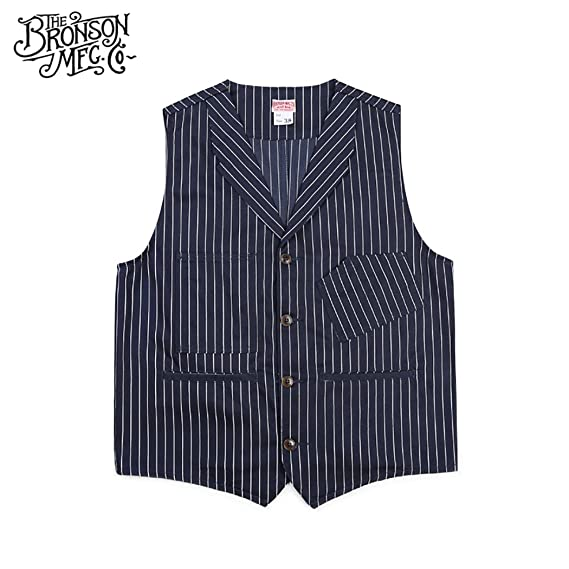 Men's Vintage Workwear – 1920s, 1930s, 1940s, 1950s Bronson 1900S 10OZ Mens Yarn Dyed Indigo Striped Railroad Vest $54.99 AT vintagedancer.com