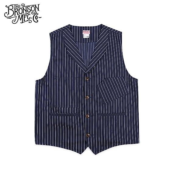 1910s Men's Working Class Clothing Bronson 1900S 10OZ Mens Yarn Dyed Indigo Striped Railroad Vest $54.99 AT vintagedancer.com