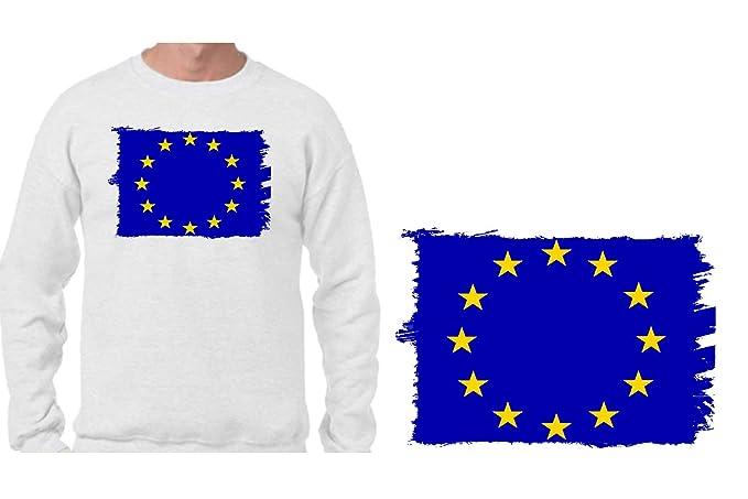 MERCHANDMANIA Sudadera SIN Capucha Bandera Union Europea Sweatshirt Custom: Amazon.es: Ropa y accesorios
