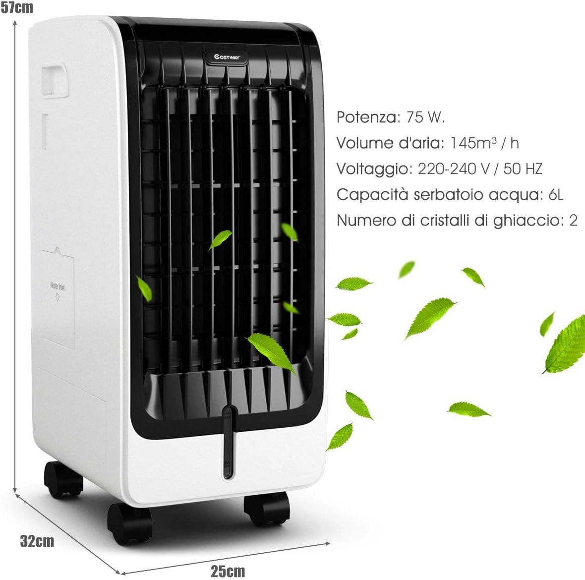 GOPLUS 3 in 1 Raffrescatore Ventilatore Portatile con 4 Ruote Universali 3 Velocit/à Umidificatore con Timer 7,5h 38x28,5x74 cm
