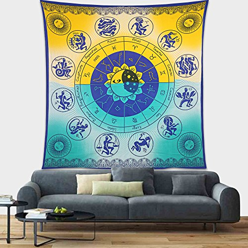 - Gokul Handloom Sun and Moon Tapestry Zodiac Calendar and Sun Horoscopes with Crescent Moon and Stars Indian Mandala Exquisite Cosmos Cosmic Design Home Tapestry Hanging Living Room Bedroom Dorm