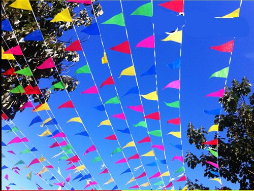 [150 Pcs Multicolor Pennant Banner, Nylon Fabric Decorations Flags For Festival Grand Opening Parties and backyard Picnics] (Garage Sale Banner)