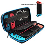 Hestia Goods Switch Case and Tempered Glass Screen Protector for Nintendo Switch - Hard Shell Travel Carrying Case Pouch Case for Nintendo Switch Console & Accessories, Streak Blue