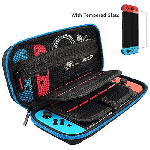 - Hestia Goods Switch Case and Tempered Glass Screen Protector for Nintendo Switch - Hard Shell Travel Carrying Case Pouch Case for Nintendo Switch Console & Accessories, Streak Blue