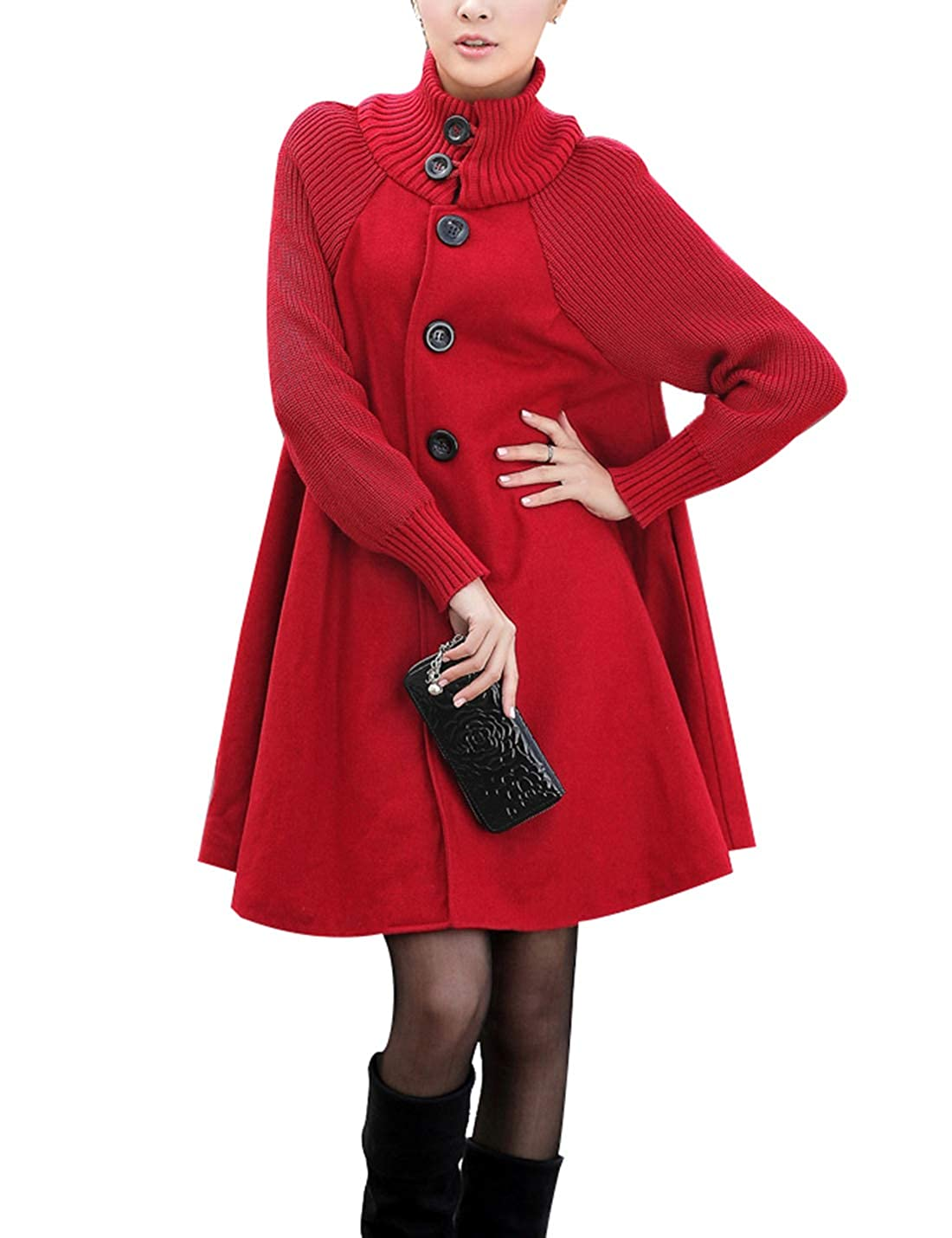 Naliha Womens Wool Oversized Coats Outwear Long Swing Single Breasted Pea Coat