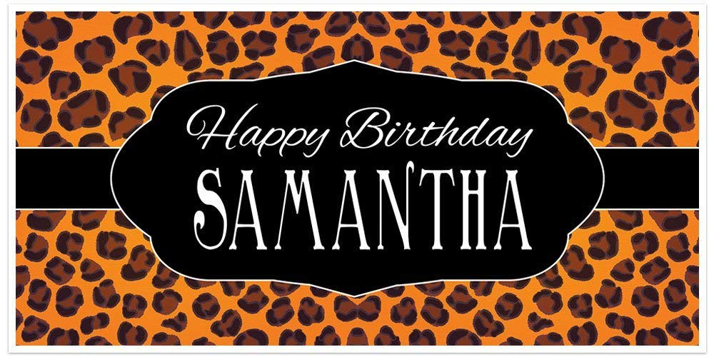 Cheetah Animal Print Personalized Birthday Banner Party Decoration Backdrop