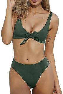 8c5d4ab275 QINSEN Womens Tie Knot Front High Waist Thong Bandage 2PCS Bikini Sets  Beachwear