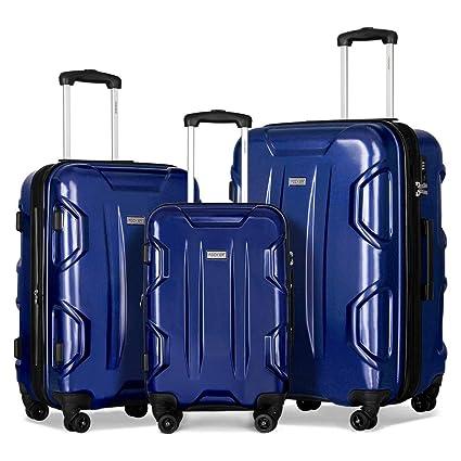 FCOHIER Juegos De Equipaje 3Pcs Unic Design Durable PC Spinner Hardshell Maleta Ligera TSA Lock,Azul