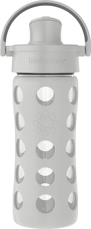 Lifefactory 12oz Active Flip Cap, Cool Grey Glass Water Bottle
