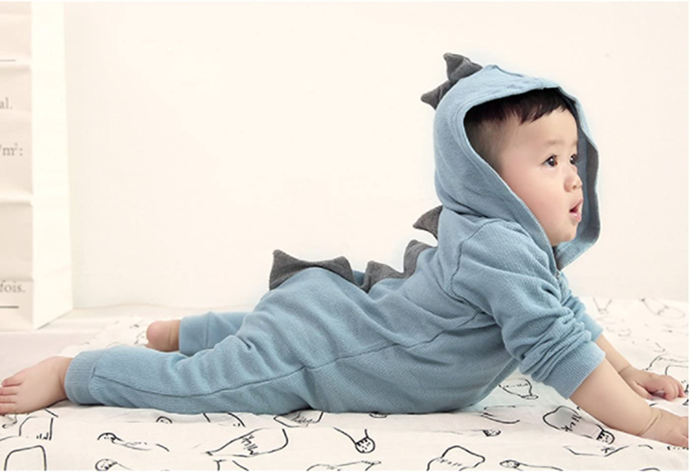 MetCuento Newborn Baby Boys Girls Dinosaur Hoodie Romper Onesies Jumpsuit Bodysuit Outfits Clothes 3-24 Months