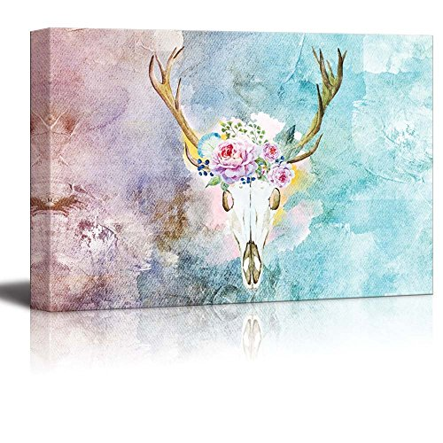 Painting of a Deer Skull with a Crown of Flowers on a Water Color Background