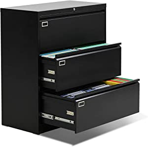 3 Drawer Lateral File Cabinet, Lockable Lateral Filing Cabinet, Black Lateral File Cabinets with Lock for Home Office, Letter/Legal Size and 6 Adjustable Hanging Bars (Metal Steel Frame)