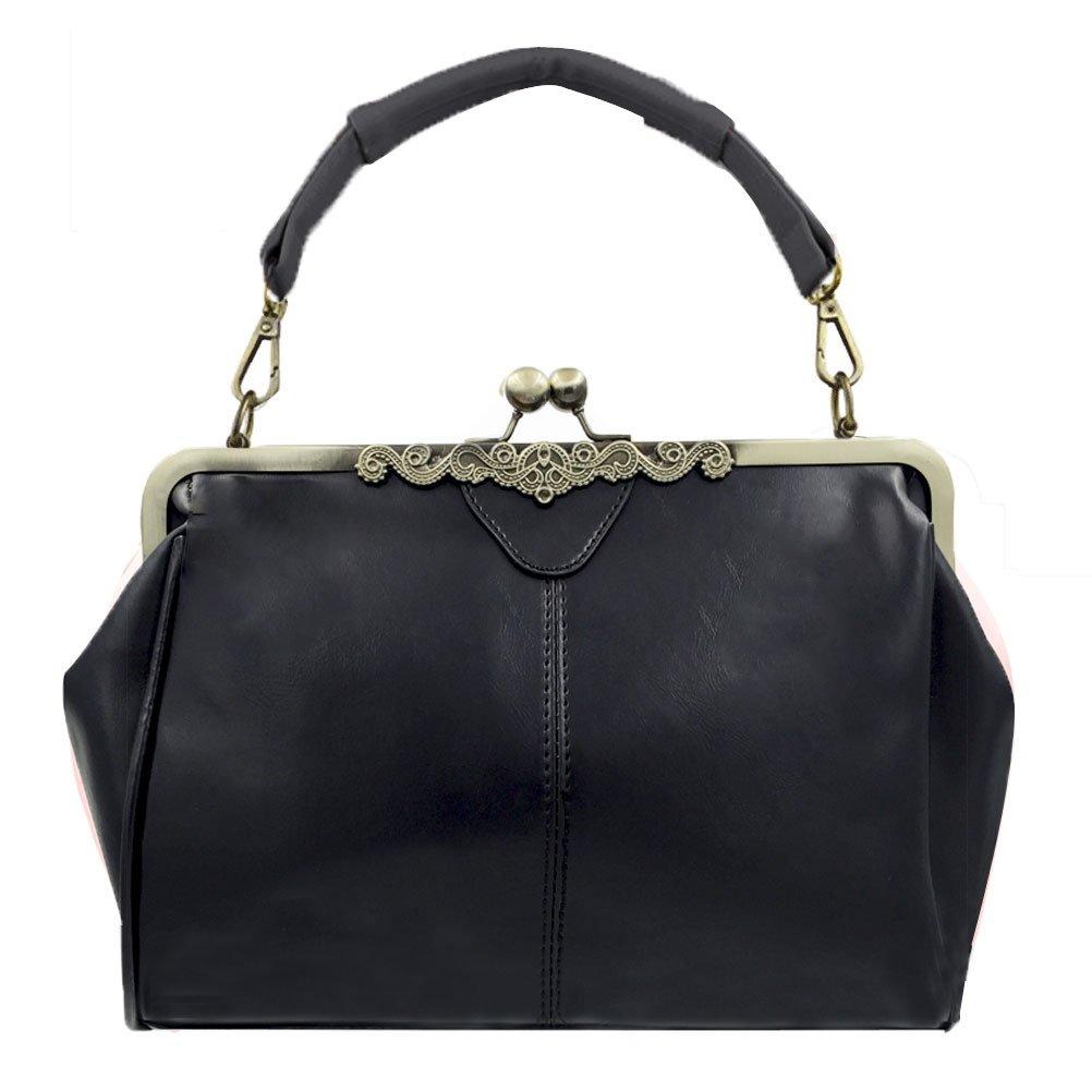 Donalworld Women Retro Hollow out PU Leather Handbag M Black