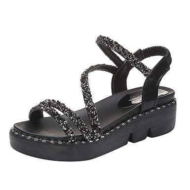 POLP Sandalias Planos Plataforma Chica Sandalias de Vestir Antideslizante Casual Cómodo Mujer Mocasines Zapatos Tacón Bajo Cómodo por casa Negro 35-39: ...
