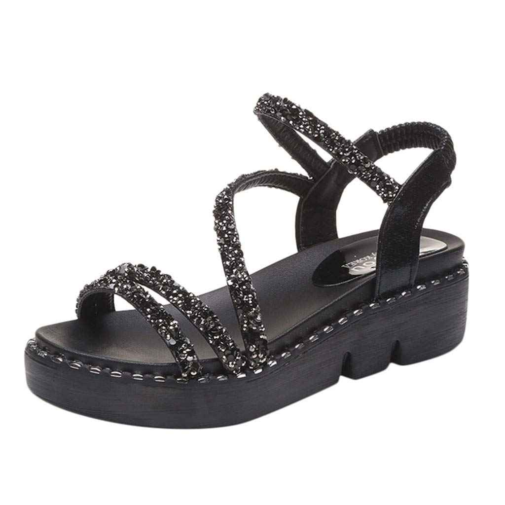 a6a08b68c697 Amazon.com  COPPEN Women Bohemia Sandals Wedges Crystal Bling Peep Toe  Summer Shoes Black  Clothing