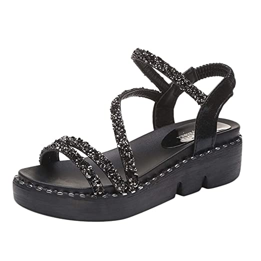 b4573e25f5e78 Amazon.com: Nevera Women's Casual Peep Toe Ankle Strap Summer ...
