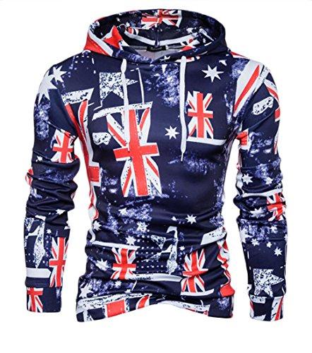 M2MO Mens British Flag Printed Long Sleeve Pullover Hooded Sweatshirt one US L