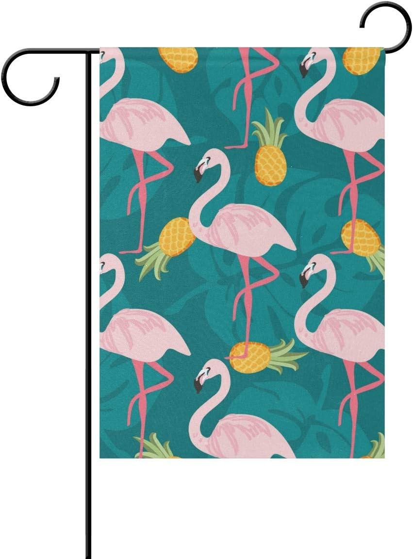 REFFW para decoración de césped al Aire Libre pájaro Flamenco piña Hojas Naturaleza jardinería Doble Cara Ciudad Bandera hogar jardín Bandera