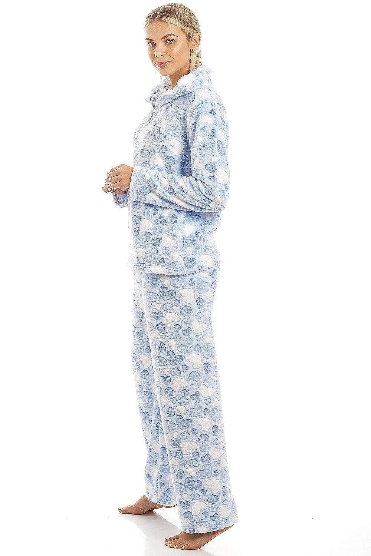 Bleu Clair Ensemble de Pyjama en Polaire Ultra Douce Motifs /à c/œurs