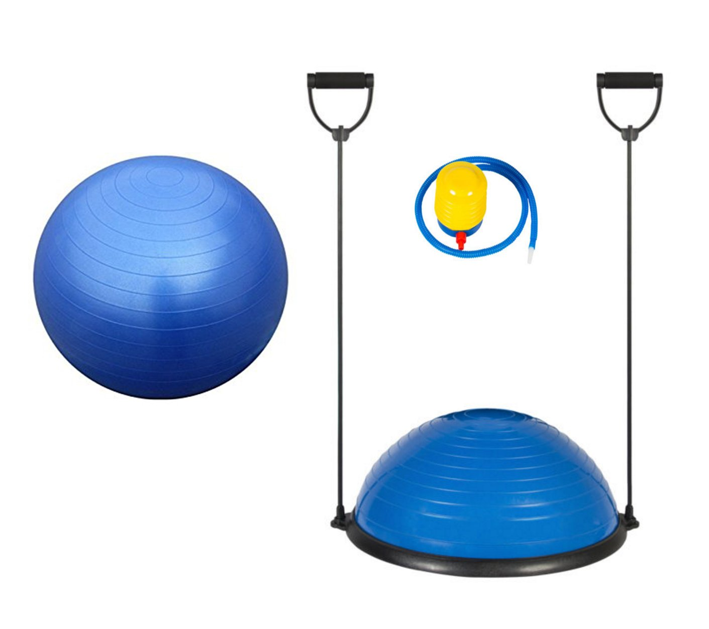 Blue Fitness Yoga Balance Trainer Ball With Free 65cm Exercise Ball and Air Pump Combo Set Great for Workout Gym Aerobic