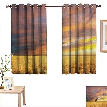 Amazoncom Giraffe Decorative Curtains For Living Room