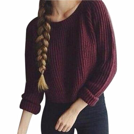super popular c9d54 a1835 QIYUN.Z Frauen Weinrot Winter/Herbst Pullover Pullover Rundhals Kurzen  Strick Hot