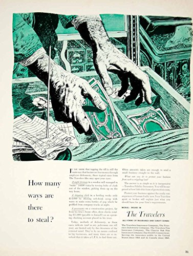 1950 Ad Travelers Fidelity Insurance Banking Finance Surety Bonds Money Art YFT6 - Original Print Ad from PeriodPaper LLC-Collectible Original Print Archive