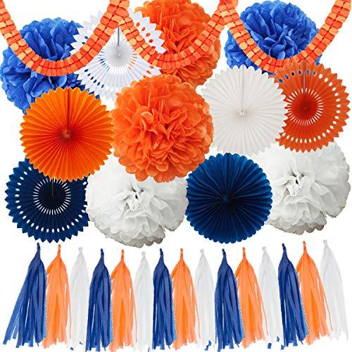 28PCS Navy Blue Orange White Birthday Bridal Baby Shower Wedding Bachelorette Decoration Supply Kit - 12