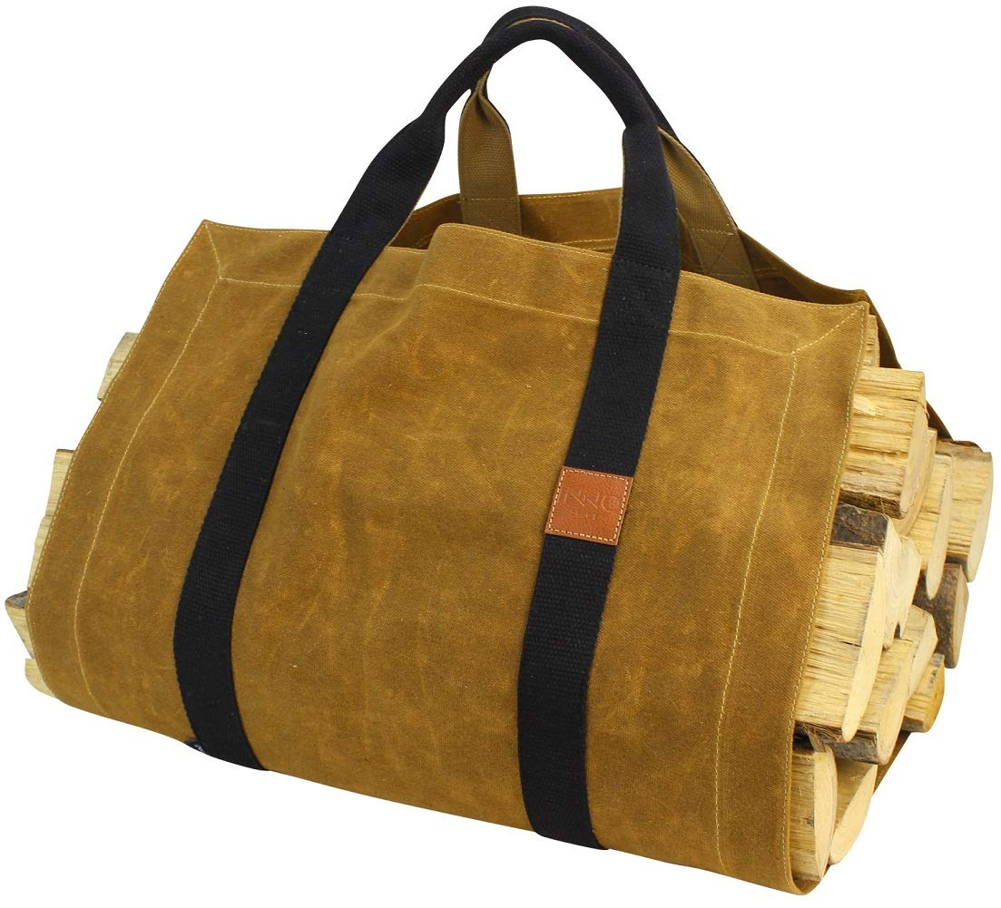 INNO STAGE 16oz Waxed Canvas Firewood Log Carrier with Super Strong Double Straps for Reinforce - Both Front and Back for Wood Holder by INNO STAGE