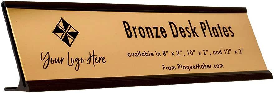 Amazon.com : Custom Metal Name Plate with Desk Holder (Bronze, 8 x ...