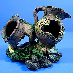 """Double Vase Urn Cave 6.3"""" Aquarium Ornament Decor - Jiuweng bonsai aquatic Greek"""