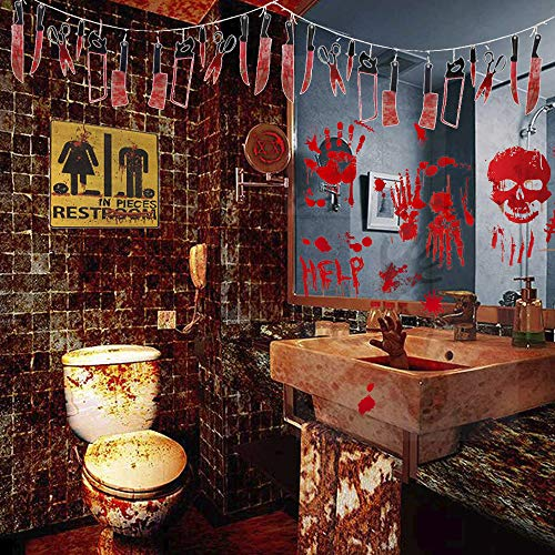 Inno-Huntz Halloween Stickers Horror Bloody Handprint Footprint Temporary Cling Wall Window Decals Creepy Decorations Face Stickers Fake Wound Garland Cosplay Waterproof Makeup Party Decoration 118pcs