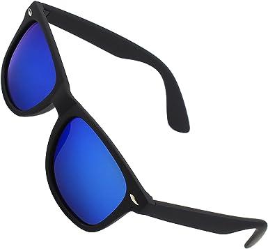 Noir Mat Polarisé à Reflets Trendy Wayfarer Lunettes de Soleil Pas Cher UV400