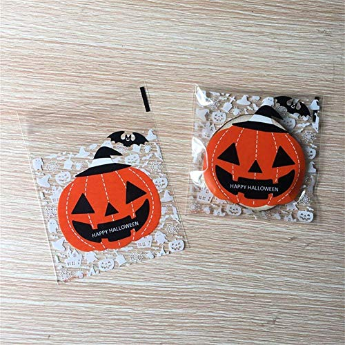 Kakasogo Cute 100 Pcs Plastic Halloween Pumpkin Theme Self-Adhesive Cookie Candy Soap Biscuits Packaging Bags Christmas Birthday Wedding Party Gift Set Paper Craft Cello Cellophane WrapBags ()