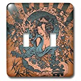 3dRose LLC lsp_119074_2 Beautfiul Grunge Style Japanese Geisha Girl Woman and Dragon Oriental Asian Design Double Toggle Switch