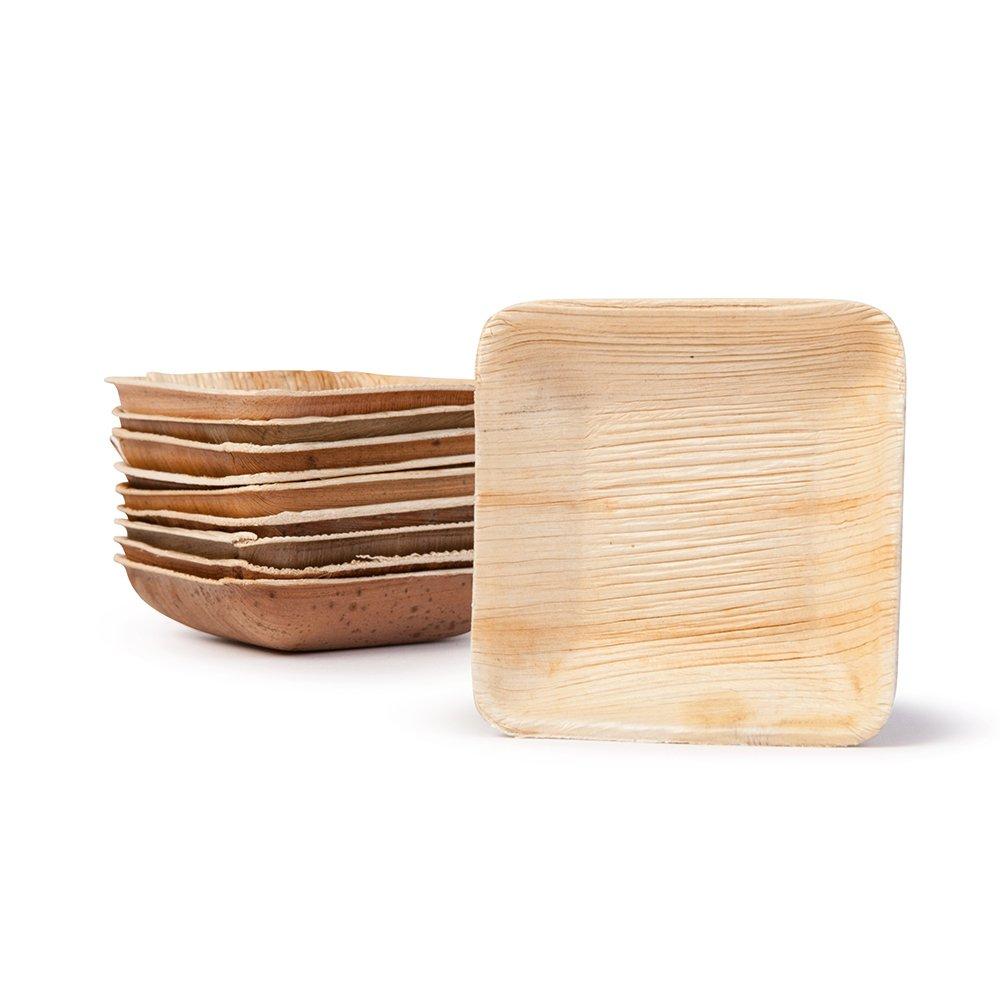 BIOZOYG 25x Palmleaf mini bowl | 80ml, 8x8cm, square | 100% biodegradable, compostable | individual, decorative grain | stabil & robust | for dips, buffet & fingerfood Bionatic